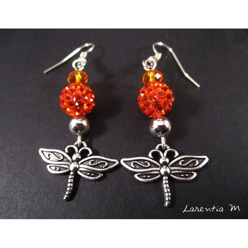 Boucles d'oreille nœuds papillons argentés, perles shamballa violettes, perles magiques roses