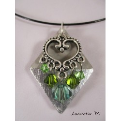 Sterling Silver Diamond Necklace, Heart Connector, Green Swarovski Crystal Beads, Black Rigid Choker
