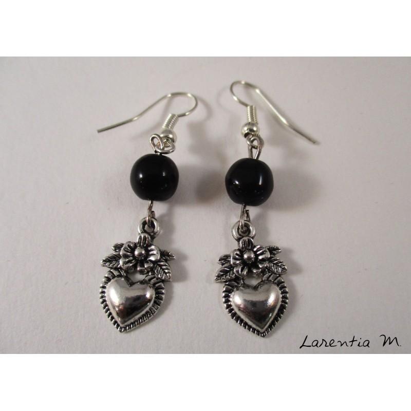 Pierced ears hearts silver, gray pearls