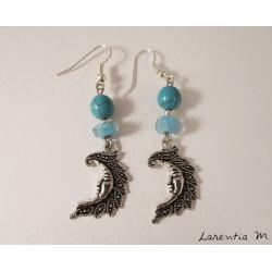 Boucles d'oreilles lunes argentées, perles turquoise et argent