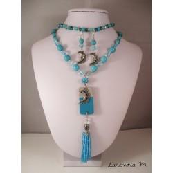 Parure - Sautoir béton, bracelet et boucles d'oreilles perles turquoises