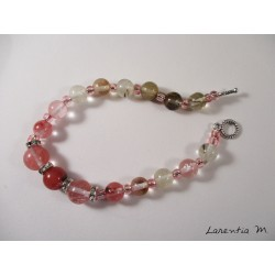 Bracelet perles roses et strass argentés