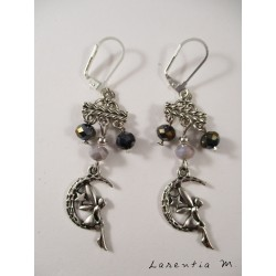 Gray crystal pearl earrings on connector, silver fairy
