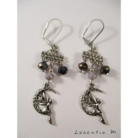 Boucles d'oreilles perles cristal grises sur connecteur, fée argentée