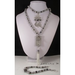 Fineries jewels Long necklace concrete, bracelet and earrings grey pearls