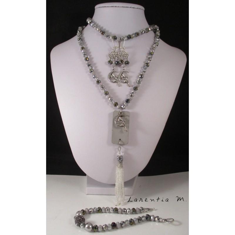 Parure - Sautoir béton, bracelet et boucles d'oreilles perles grises