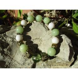 Bracelet perles buri, métal, têtes bouddha vieil or, élastique