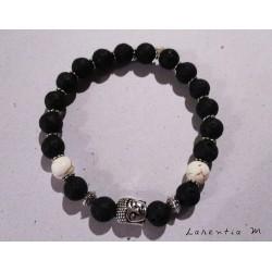 Bracelet black lava beads, ivory stone and silver buddha head