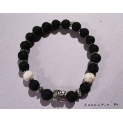 Bracelet perles de lave noire, pierre ivoire et tête bouddha argentée - Elastique