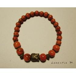 Bracelet perles pierres orangées, tête  bouddha vieil or - Elastique