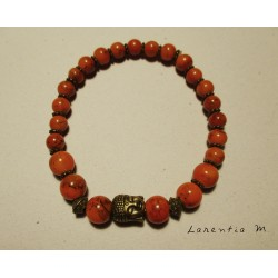Orange stones beads bracelet, old gold buddha head