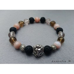 Black lava beads bracelet, pink pearls and silver lion head
