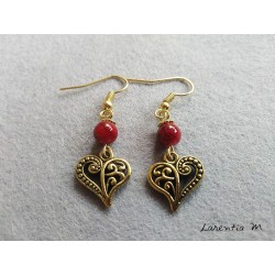 Red pearl earrings and golden heart