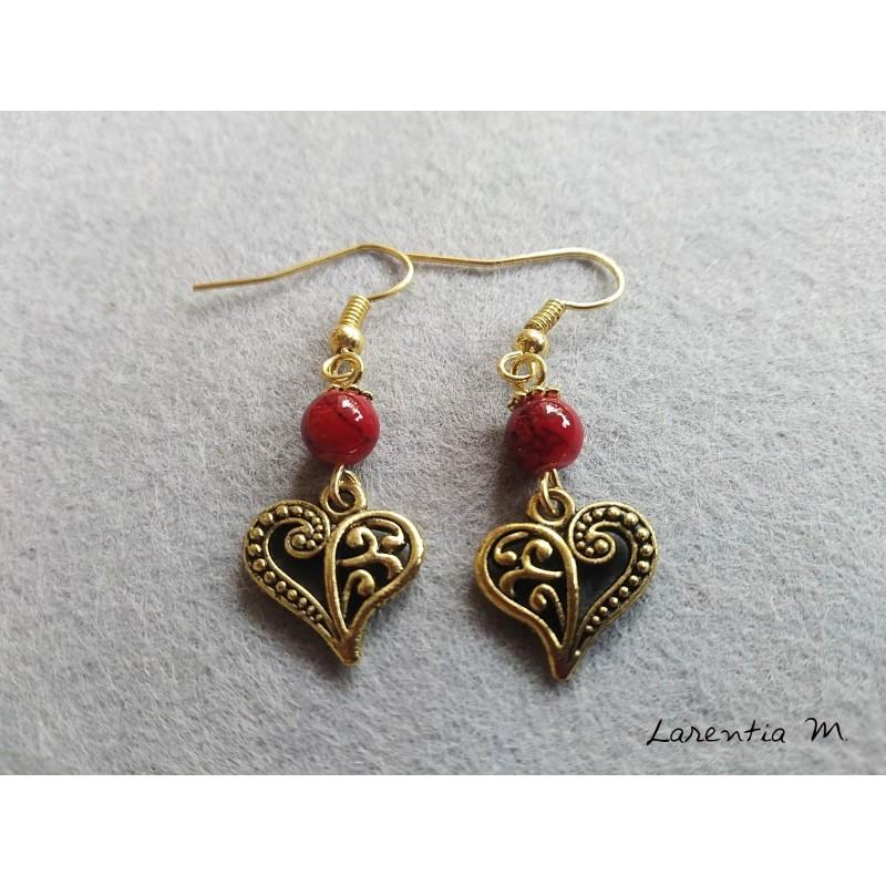 Boucles d'oreilles perles rouges et cœur doré