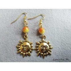 Boucles d'oreilles perles oranges-jaunes et soleil doré