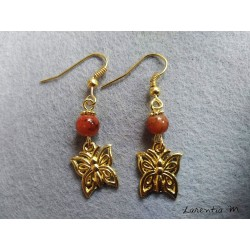 Orange pearl and butterfly earrings