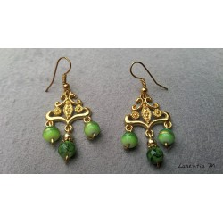 Gold connector earrings, green glass beads