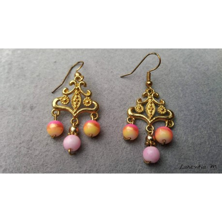 Gold connector earrings, pink glass beads
