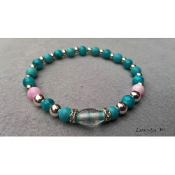 Blue and pink 6 mm glass beads bracelet, silver