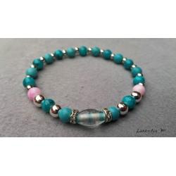 Bracelet perles verre bleues et roses, argentées