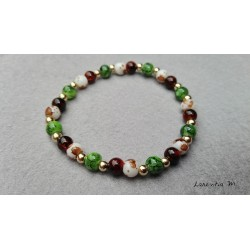 Glass beads bracelet 6mm brown, green, white gold metal - Elastic