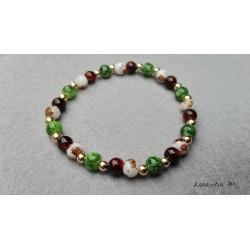 Glass beads bracelet 6mm brown, green, white gold metal - Elastic
