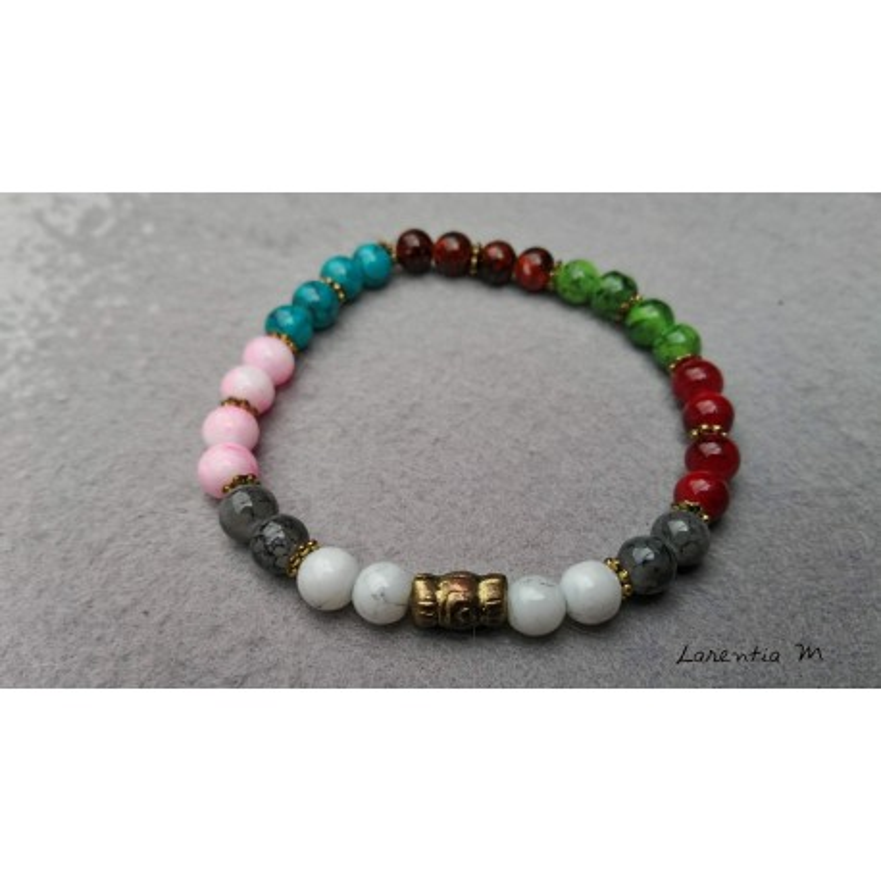 Bracelet perles verre 6mm plusieurs couleurs - Elastique