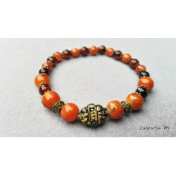 Glass beads bracelet 8 and 6 mm orange and brown, bronze metal beads - Elastic