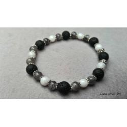Bracelet perles lave noires 8mm, perles verre 6mm blanches et grises - Elastique