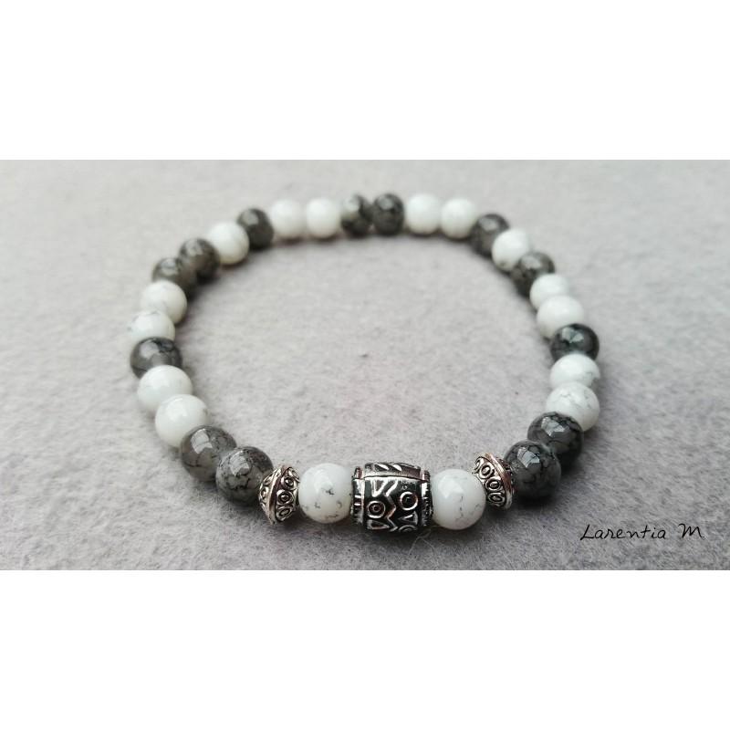 Bracelet perles verre 6mm, blanches et grises, métal argenté - Elastique