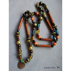 Long necklace 50 cm brown/orange/yellow beads and round mother of pearl pendant