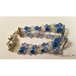 Swarovski crystal 3-row bracelet, gradient blue and trasparent beads, antique metal dividers, magnetic clasp