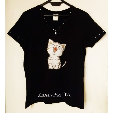Tee-shirt noir, transfert chaton, strass cristal encolure et manches (taille L)