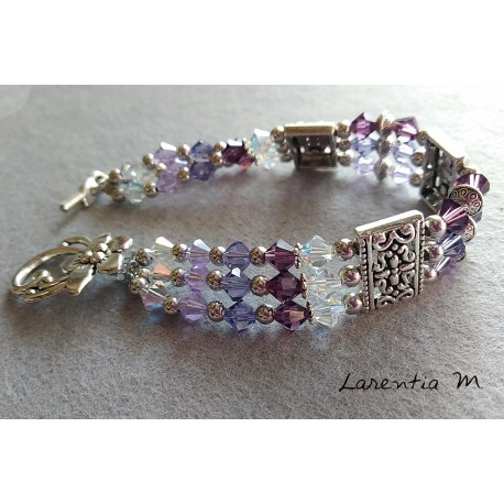 3 row Swarovski crystal bead bracelet, purple pearl gradient, silver antique metal dividers, flower toggle clasp
