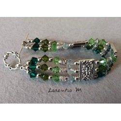 3 row Swarovski crystal bead bracelet, gradient green beads, silver antique metal dividers, round toggle clasp