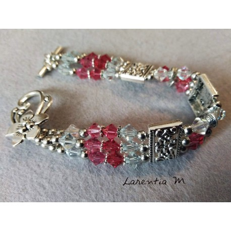 3 row Swarovski crystal bead bracelet, pink pearl gradient, silver antique metal dividers, flower toggle clasp