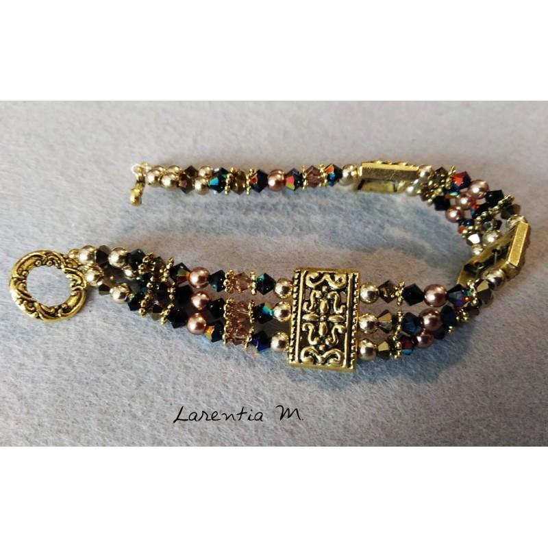 Bracelet 3 rangs en perles de cristal de Swarovski, dégradé de perles marrons et noires
