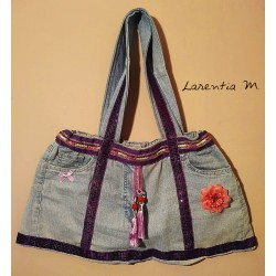 Handbag made from jeans! Purple ribbon