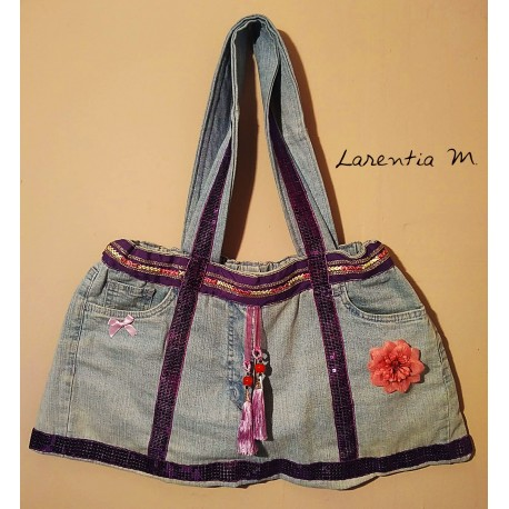 Handbag made from jeans! Turquoise