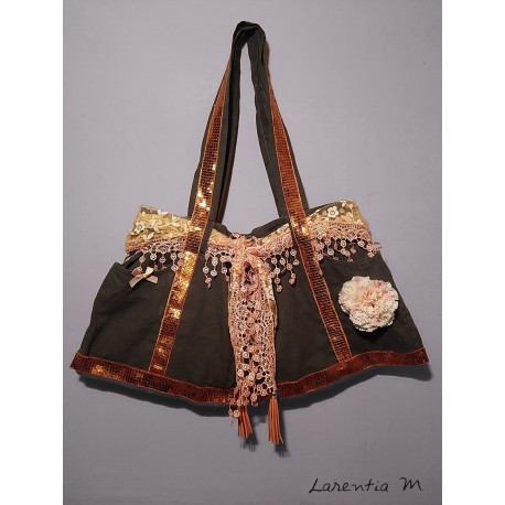 Handbag made from jeans! orange lace scarf