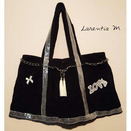 Handbag made from black velvet jeans