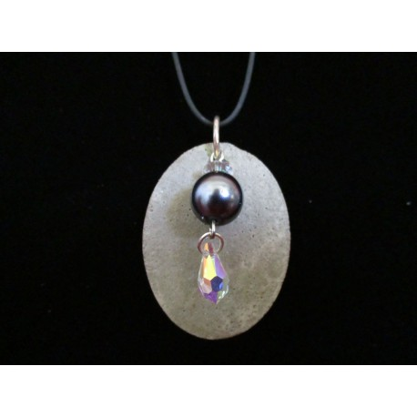 Necklace, pendant with grey waxed beads / Swarovski on concrete pad