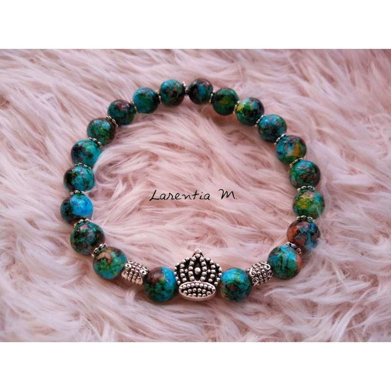Bracelet perles verre 8mm bleues mouchetées, couronne argentée - Elastique