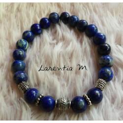 Bracelet perles en Lapis Lazuli 8mm, perles métal argenté - Elastique