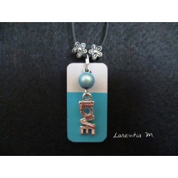 "Pendant Necklace ""Love"" with blue pearl on rectangle concrete pad painted turquoise"
