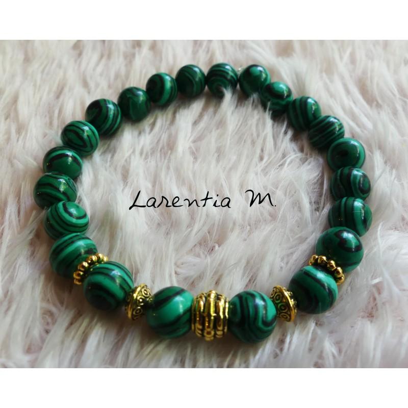 Bracelet perles en Malachite 8mm, perles métal doré - Elastique