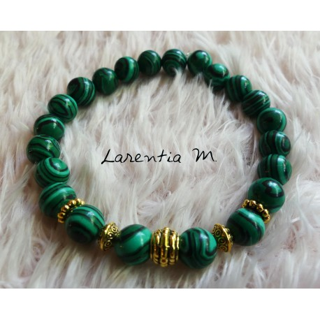 Malachite beads bracelet 8mm, gold metal beads - Elastic