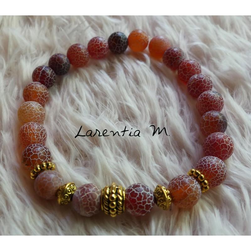 Malachite beads bracelet 8mm, gold metal beads - Elastic