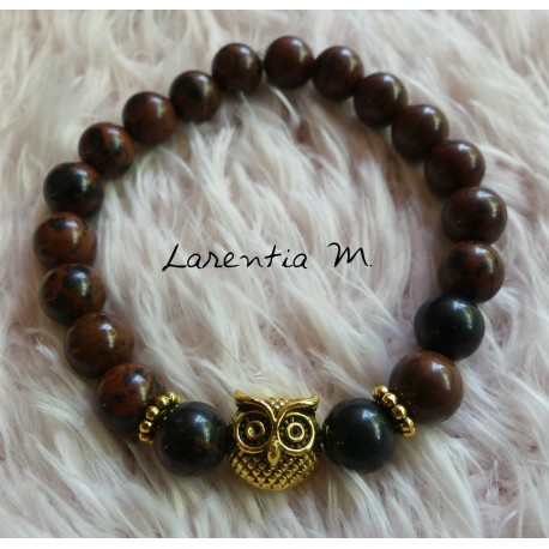 Bracelet perles Jaspe acajou 8mm, Hibou doré - Elastique