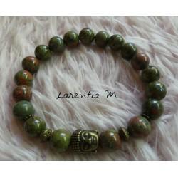 8mm Unakite beads bracelet, bronze buddha head - Elastic
